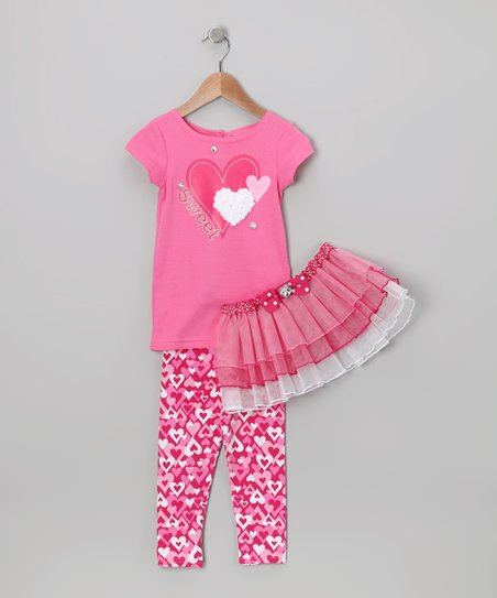 Pink 'Sweet' Heart Tutu Set - Infant, Toddler & Girls