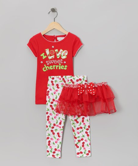 Red 'I Love Sweet Cherries' Tutu Set - Infant, Toddler & Girls