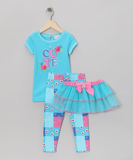 Blue 'Cute' Flower Tutu Set - Toddler & Girls