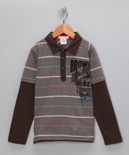Brown Stripe Layered Polo - Boys