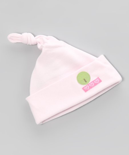 Pink New Baby Organic Single-Knot Beanie