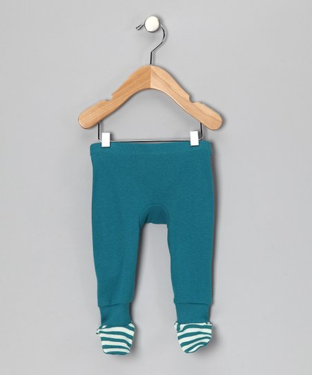 LAPSAKY Peacock Blue Stripe Organic Footie Pants - Infant