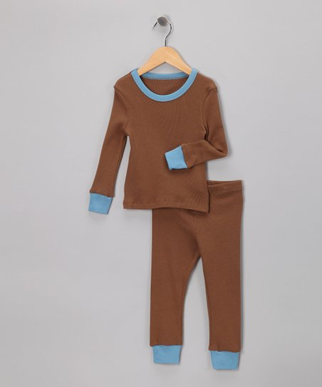 LAPSAKY Mocha & Blue Organic Pajama Set - Toddler & Kids