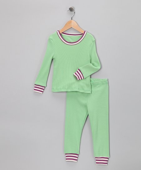 LAPSAKY Green & Purple Stripe Organic Pajama Set - Toddler & Kids