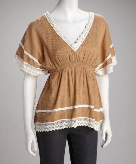 Tan & White Lace Cape-Sleeve Empire Waist Top