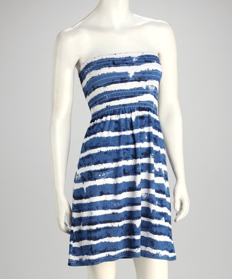 Blue & White Stripe Strapless Dress