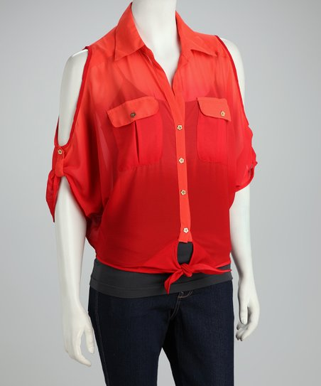 Coral Cutout Button-Up Top