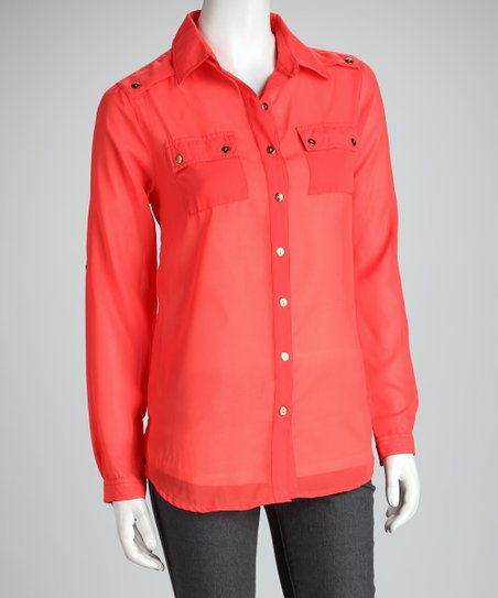 Coral Sheer Button-Up Top