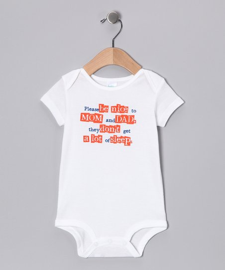 White 'Please Be Nice' Bodysuit - Infant