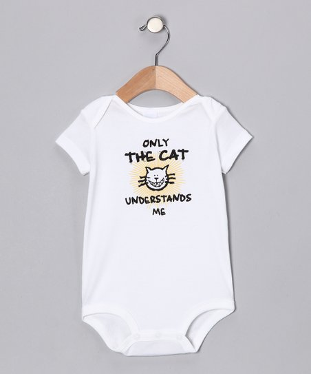 White &#039;Only the Cat&#039; Bodysuit - Infant