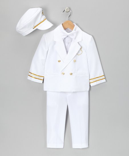 White 'Captain' Suit Set - Infant, Toddler & Boys