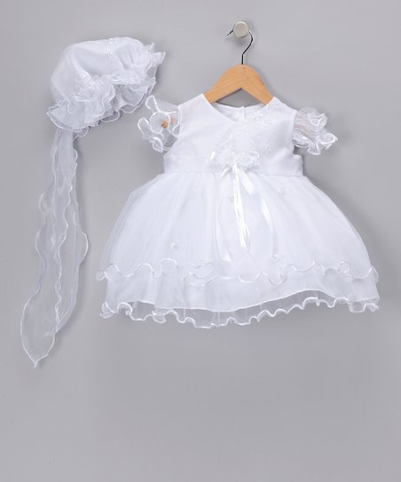 White Cream Organza Dress & Bonnet - Infant, Toddler & Girls