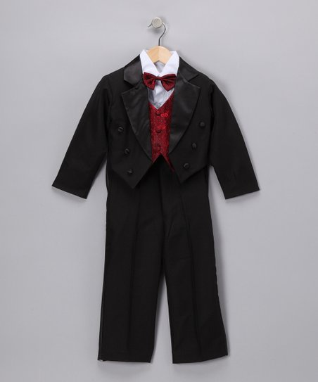 LA Sun Black &amp; Burgundy Tuxedo Set - Toddler &amp; Boys