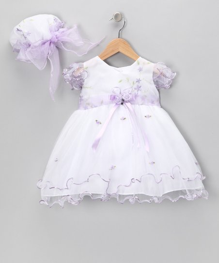 White & Lavender Flower Dress & Bonnet - Infant, Toddler & Girls