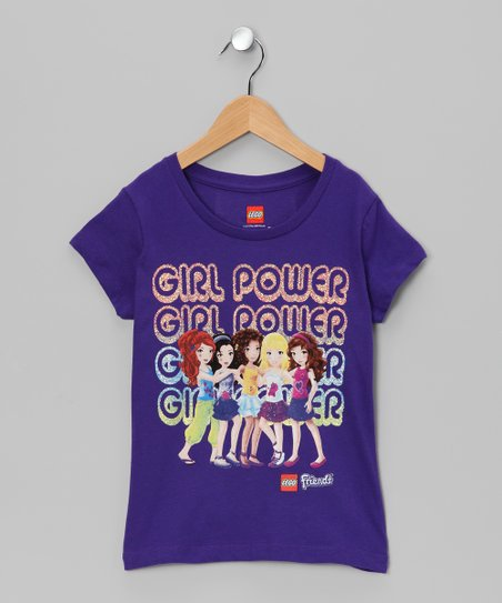 Purple 'Girl Power' LEGO Friends Tee - Girls