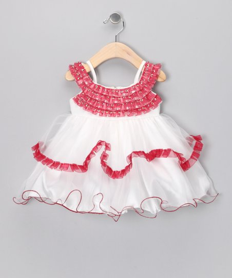 Red Pleated Sequin Ruffle Dress - Infant