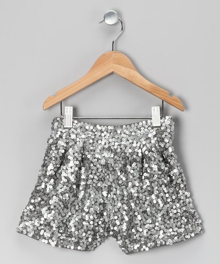 Silver Sequin Shorts - Girls