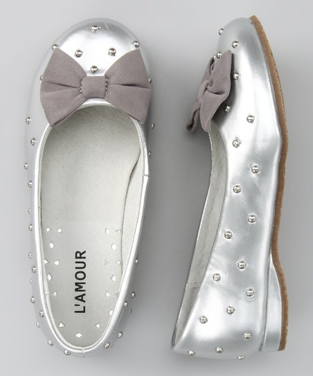 Silver Shimmer Bow Flat