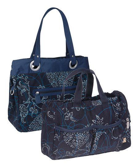 Navy Gold Label Reversible Tote Diaper Bag