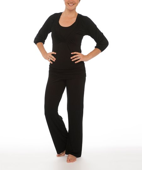 Black Nursing Sleep Top & Pants - Women