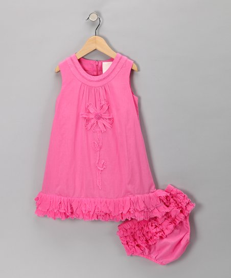Dark Pink Daisy Ruffle Dress & Diaper Cover - Toddler