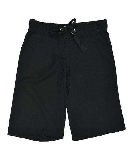 Black Drawstring Bermuda Shorts
