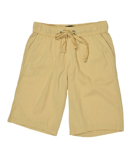 Natural Drawstring Bermuda Shorts