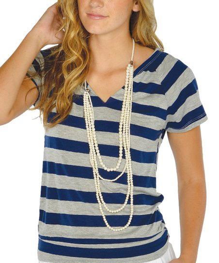 Navy Open-Back Top