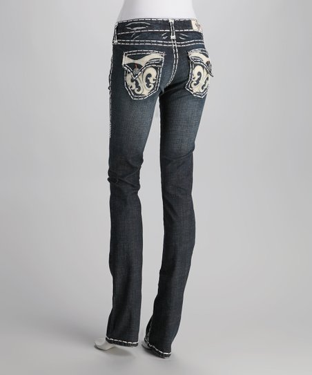 Blue Monarch Bay White Stitch Straight-Leg Jeans