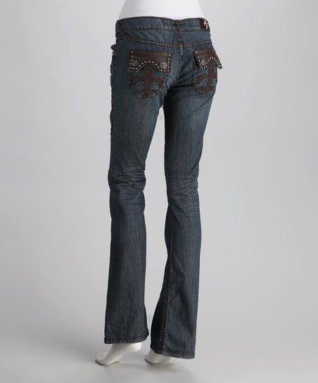 Laguna Beach Dark Blue Hermosa Beach Stitch Straight-Leg Jeans