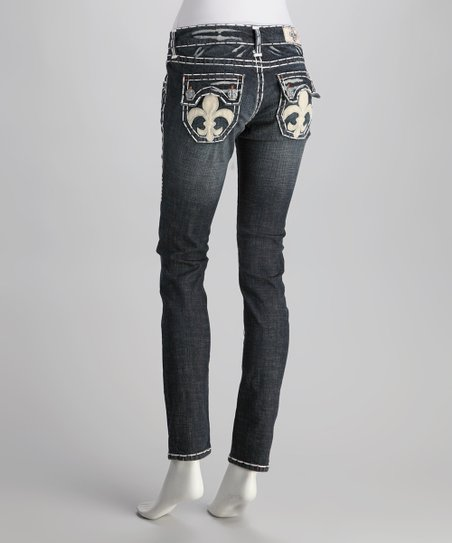 Blue Hermosa Beach White Stitch Skinny Jeans