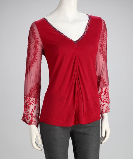 Wine Sheer Sleeve Silk-Blend V-Neck Top