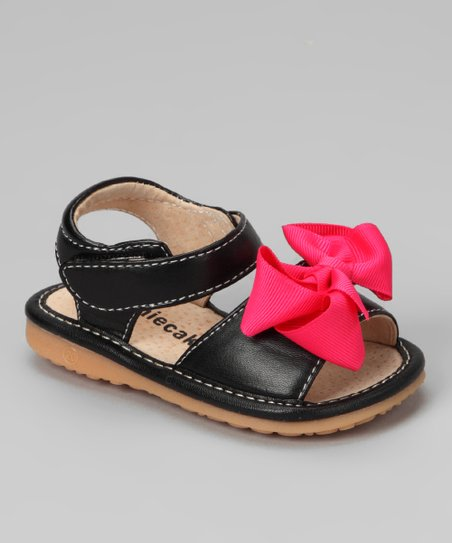 Laniecakes Black Bow Squeaker Sandal