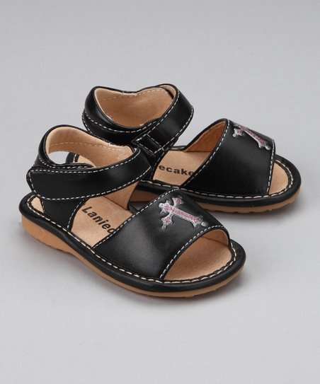 Black Cross Squeaker Sandal