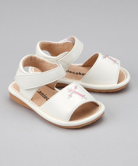 White Cross Squeaker Sandal