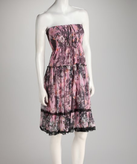 Pink & Gray Floral Shirred Ruffle Convertible Dress