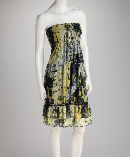 Black &amp; Yellow Floral Shirred Ruffle Convertible Dress