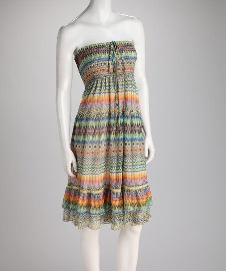 Green & Orange Zigzag Shirred Ruffle Convertible Dress