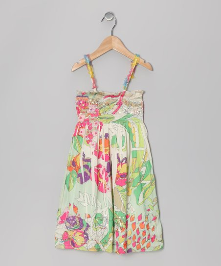 Green & Pink Floral Sublimation Convertible Dress