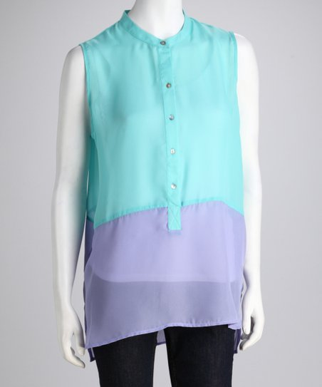 Larsen Grey Turquoise & Purple Color Block Sleeveless Tunic