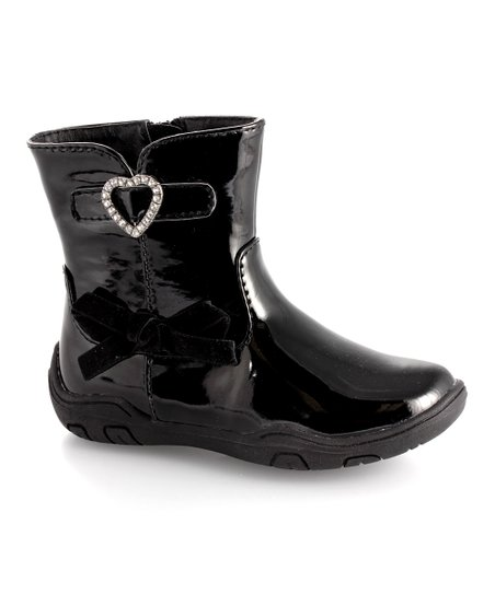 Black Patent Heart Ankle Boot