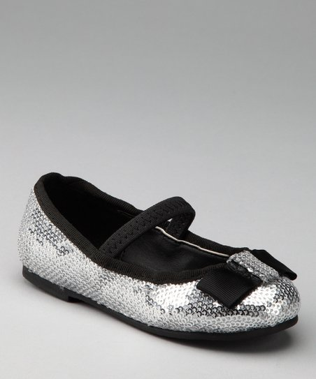 Black & Silver Sequin Ballet Flat - Kids