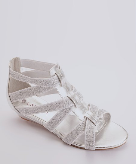 Silver Elastic-Strap Sandal - Kids