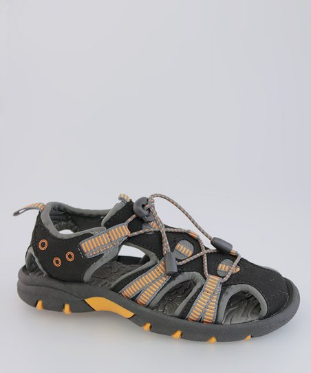 Black & Orange Toggle Sandal - Kids