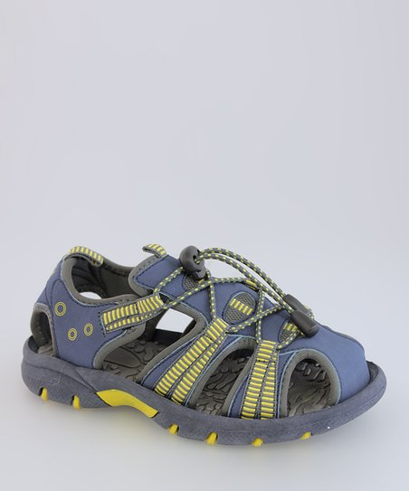 Navy &amp; Yellow Toggle Sandal - Kids