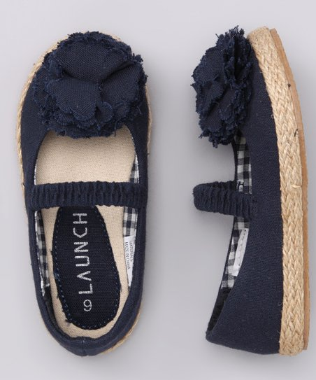 Navy Lulu Strap Flat - Girls