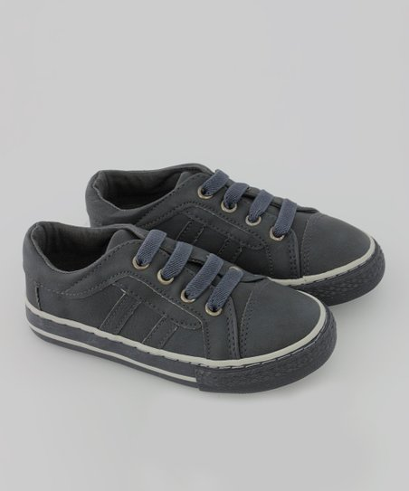 Navy Faux Leather Sneaker