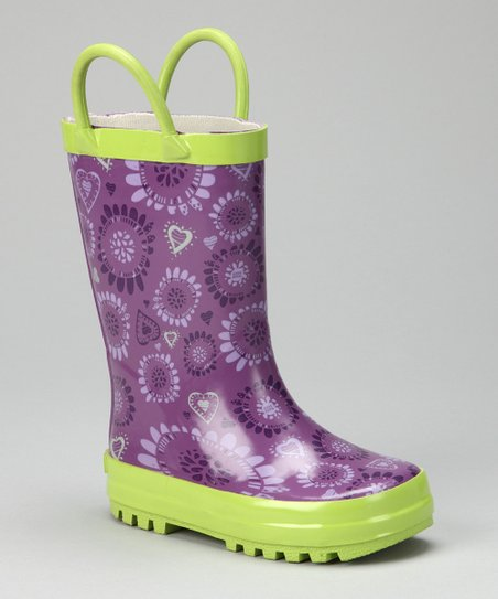 Purple & Green Rain Boot