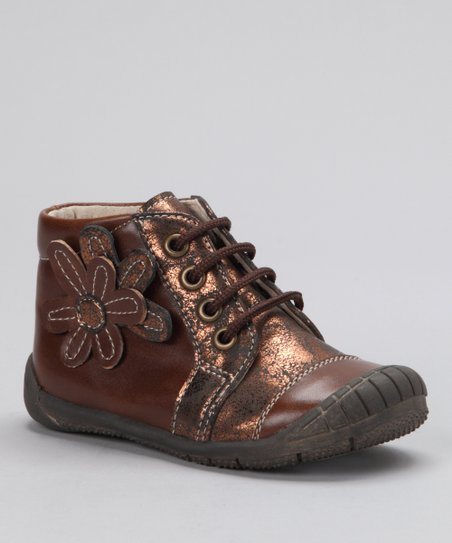 Brown & Bronze Flower Shoe