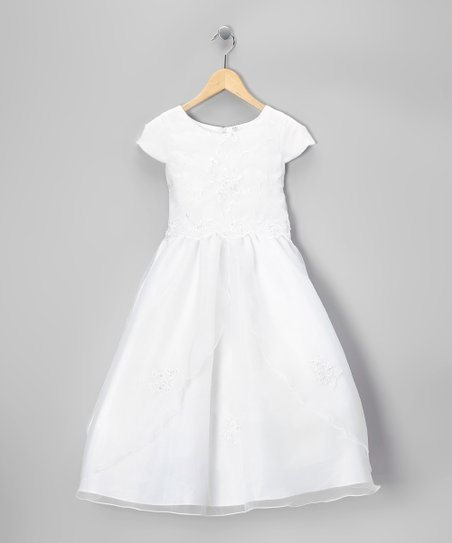White Cap-Sleeve Dress